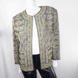 Vintage Gold And Gray Beaded Jacket 1X